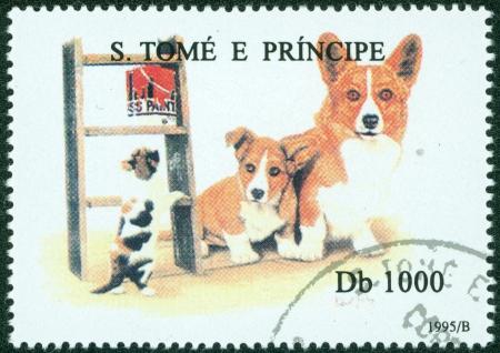 S  TOME E PRINCIPE - CIRCA 1995  A stamp printed in S  Tome e Principe showing Welsh Corgi dog, circa 1995