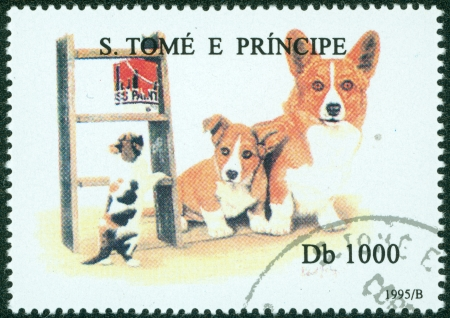 S  TOME E PRINCIPE - CIRCA 1995  A stamp printed in S  Tome e Principe showing Welsh Corgi dog, circa 1995 Stock Photo - 15854940