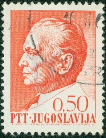 YUGOSLAVIA - CIRCA 1980s  A stamp printed in Yugoslavia shows Josip Broz Tito, circa 1980s Stock Photo - 16043021