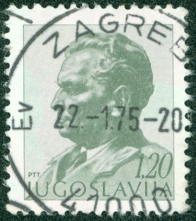 YUGOSLAVIA - CIRCA 1974  A stamp printed in Yugoslavia shows portrait of Marshal Josip Broz Tito, circa 1974 Stock Photo - 16043028