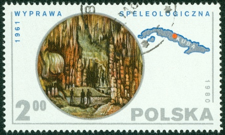 speleology: POLAND - CIRCA 1980  A stamp printed in POLAND shows Speleology, from series, circa 1980