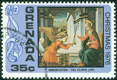 religious icon: GRENADA - CIRCA 1976  A stamp printed in Grenada, depicts the Madonna and Child, Christmas, circa 1976