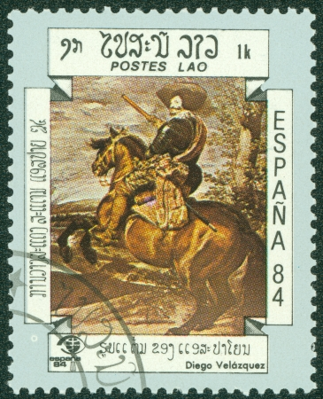 velazquez: LAOS-CIRCA 1984  A stamp printed in the Laos, shows a painting, circa 1984 Editorial