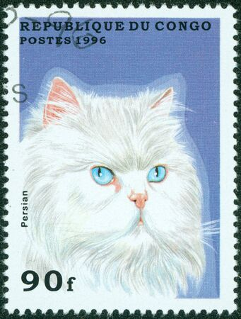 REP OF CONGO - CIRCA 1996  mail stamp printed in the Congo featuring a white pedigree Persian cat, circa 1996 Stock Photo - 16059523