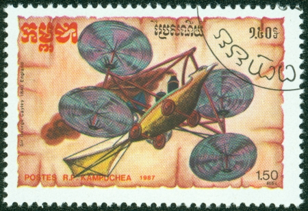 KAMPUCHEA-CIRCA 1987  A stamp printed in the Cambodia, depicts the aircraft design Sir George Cayley, circa 1987 Stock Photo - 16043007