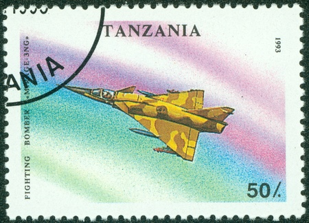 TANZANIA - CIRCA 1993  A stamp printed in Tanzania showing fighter plane, circa 1993