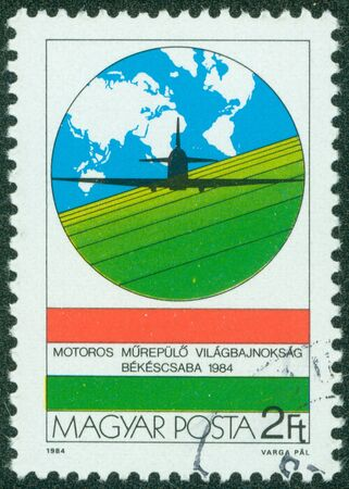 avia: HUNGARY - CIRCA 1984  stamp printed by Hungary, shows Plane and Map, circa 1984