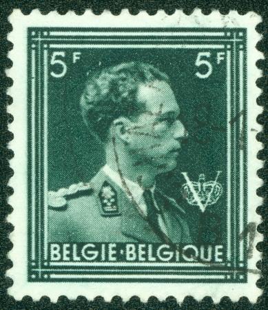 baudouin: BELGIUM - CIRCA 1944  A stamp printed in Belgium, shows Leopold III of Belgium, circa 1944