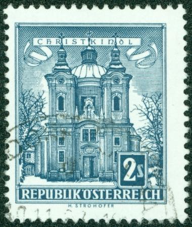 christkind: AUSTRIA - CIRCA 1957  A stamp printed in Austria shows Christkindl Church, circa 1957