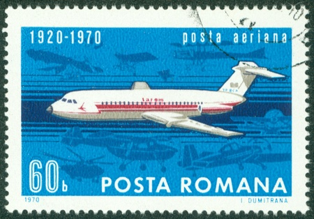 ROMANIA - CIRCA 1970  Stamp printed in Romania shows image of the flying jet plane, symbol of air mail, circa 1970