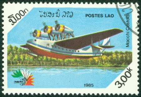 LAOS - CIRCA 1985  A stamp printed by Laos, shows aeroplane, circa 1985