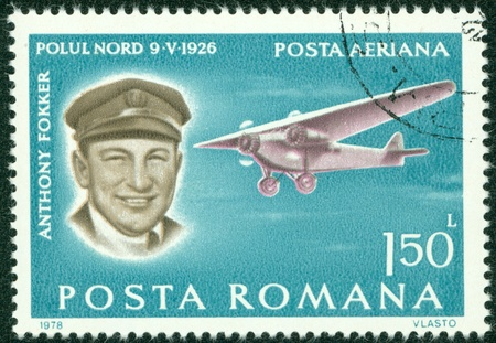 pioneering: ROMANIA - CIRCA 1978  mail stamp printed in Romania featuring aviation pioneer Anthony Fokker, circa 1978