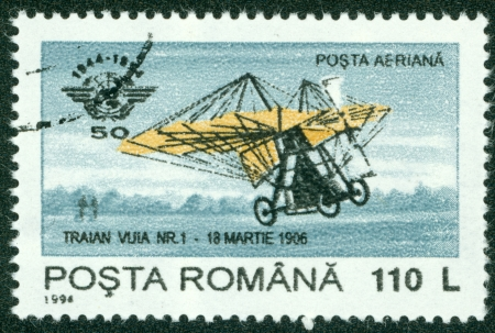ROMANIA - CIRCA 1994  stamp printed by Romania, show plane, circa 1994  Stock Photo - 16233137