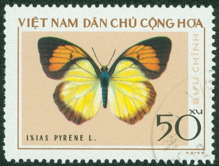 VIETNAM - CIRCA 1976  A stamp printed in Vietnam shows Ixias pyrene, series devoted to butterflies, circa 1976 Stock Photo - 16233217