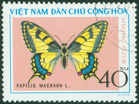 VIETNAM - CIRCA 1976  A stamp printed in Vietnam shows Papilio machaon, series devoted to butterflies, circa 1976 Stock Photo - 16233208
