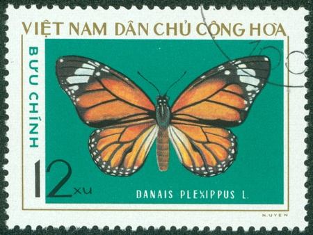 VIETNAM - CIRCA 1976  A stamp printed in Vietnam shows Danais plexippus, series devoted to butterflies, circa 1976 Stock Photo - 16233212