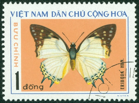 VIETNAM - CIRCA 1976  A stamp printed in Vietnam shows Eriboea, series devoted to butterflies, circa 1976 Stock Photo - 16233226