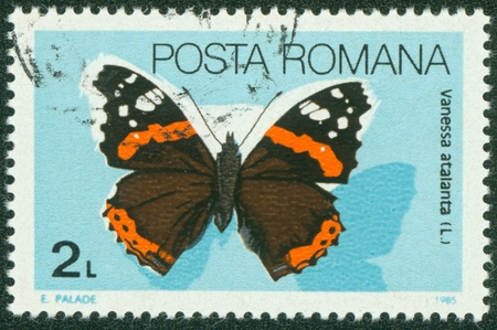 ROMANIA - CIRCA 1985  A stamp printed in Romania showing Red Admiral butterfly, circa 1985 Stock Photo - 16233198