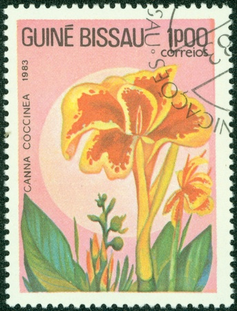GUINEA - CIRCA 1983  A stamp printed in GUINEA shows flower, circa 1983