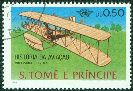 GUINEA - CIRCA 1979  A stamp printed in Republic of GUINEA, shows plane wright Flyer I, 1903, circa 1979