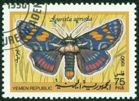 YEMEN REPUBLIC - CIRCA 1990  A stamp printed in Yemen Republic shows Agarista agricola, series devoted to butterflies, circa 1990
