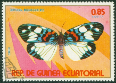 EQUATORIAL GUINEA - CIRCA 1980  stamp printed by Equatorial Guinea, shows butterfly, circa 1980