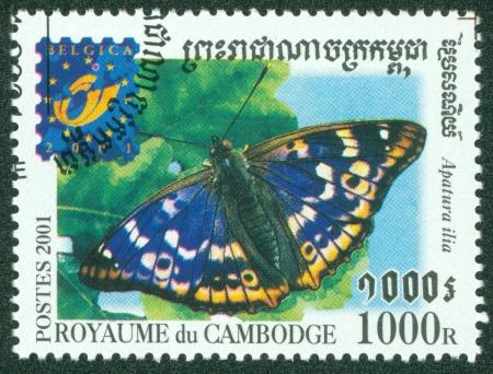 カンボジア - カンボジア、印刷 2001年スタンプ年頃 2001年年頃の蝶を示しています 報道画像