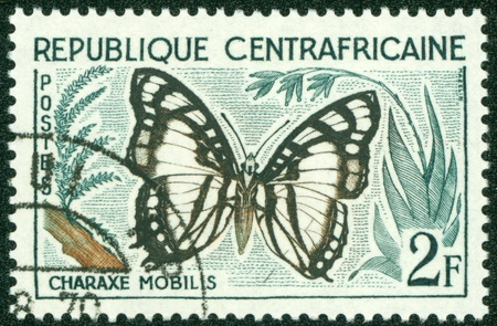 CENTRAL AFRICAN REPUBLIC - CIRCA 1960  A stamp printed in Central African Republic from the  Butterflies a mp;q uot; issue shows a Charaxe mobilis butterfly, circa 1960