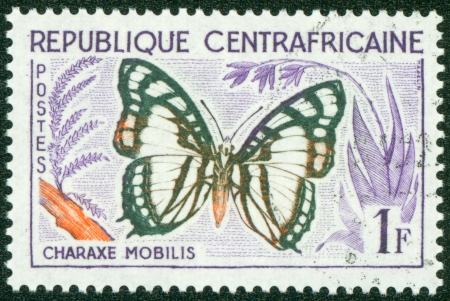 postes: CENTRAL AFRICAN REPUBLIC - CIRCA 1960  A stamp printed in Central African Republic from the  Butterflies a mp;q uot; issue shows a Charaxe mobilis butterfly, circa 1960  Editorial