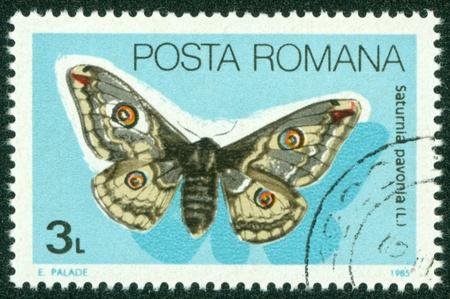 ROMANIA - CIRCA 1985  A stamp printed in Romania showing Emperor moth, circa 1985 Stock Photo - 16266232