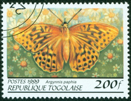 TOGO - CIRCA 1999  A stamp printed in Togolese Republic shows butterfly , circa 1999