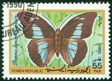 YEMEN REPUBLIC - CIRCA 1990  A stamp printed in Yemen Republic shows Prepona demophon muson, series devoted to butterflies, circa 1990 Stock Photo - 16266248