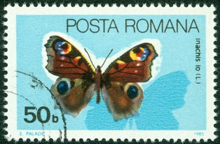 ROMANIA - CIRCA 1985  A stamp printed in Romania showing Peacock butterfly, circa 1985 Stock Photo - 16286671