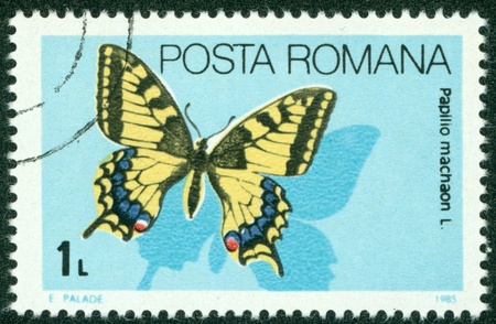 vanessa: ROMANIA - CIRCA 1985  A stamp printed in Romania showing butterfly, circa 1985
