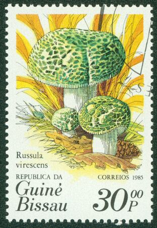 GUINEA BISSAU - CIRCA 1985  A stamp printed in Guinea Bissau showing mushrooms, circa 1985 Stock Photo - 16302118