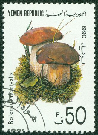 YEMEN - CIRCA 1990  A stamp printed in Yemen shows the edible Summer Cep mushroom,Boletus aestivalis , circa 1990 Stock Photo - 16302138