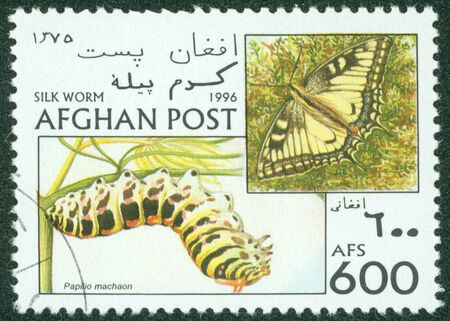 AFGHANISTAN - CIRCA 1996  The postal stamp printed in AFGHANISTAN show silk worm, series, circa 1996 Stock Photo - 16302151