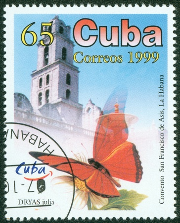 cuba butterfly: CUBA - CIRCA 1999  A Stamp printed in CUBA shows butterfly, circa 1999