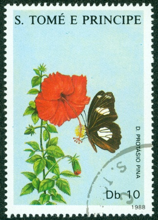 SAO TOME E PRINCIPE - CIRCA 1988  a stamp printed by Sao Tome e Principe, shows butterfly, circa 1988 Stock Photo - 16302119