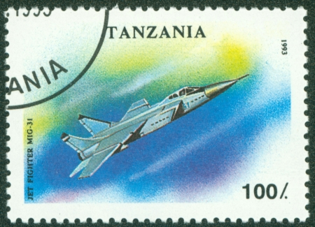 TANZANIA - CIRCA 1993  A stamp printed in Tanzania shows jet fighter MIG-31, circa 1993 Stock Photo - 16320947