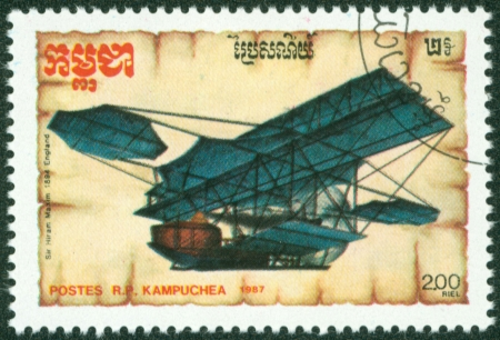 KAMPUCHEA-CIRCA 1987  A stamp printed in the Cambodia, depicts the aircraft, circa 1987 Stock Photo - 16320983