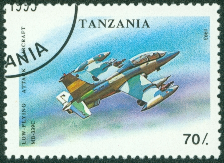 TANZANIA - CIRCA 1993  A stamp printed in Tanzania shows Low - Flying, attack aircraft, circa 1993 Stock Photo - 16320973