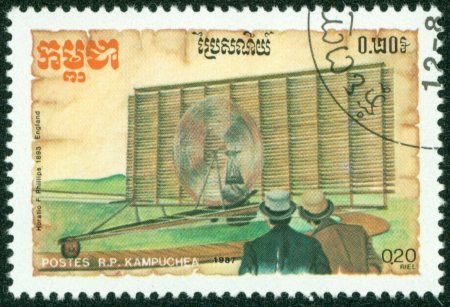 KAMPUCHEA-CIRCA 1987  A stamp printed in the Cambodia, depicts the aircraft, circa 1987 Stock Photo - 16320989