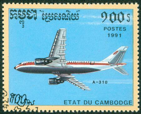 CAMBODIA - CIRCA 1991  stamp printed by Cambodia, shows plane, circa 1991 Stock Photo - 16321089