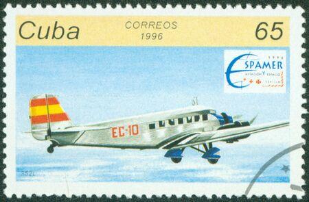 CUBA - CIRCA 1996  A stamp printed by CUBA shows plane, series, circa 1996 Stock Photo - 16320985