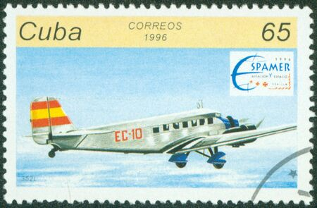 CUBA - CIRCA 1996  A stamp printed by CUBA shows plane, series, circa 1996 Stock Photo - 16320985