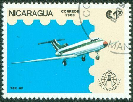 NICARAGUA - CIRCA 1986  A stamp printed in Nicaragua showing plane, circa 1986 Stock Photo - 16320942