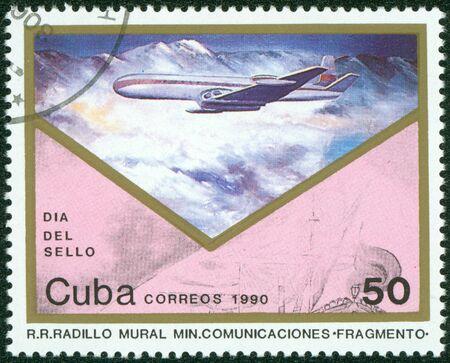 CUBA - CIRCA 1990  A stamp printed by CUBA shows plane, series, circa 1990 Stock Photo - 16321119
