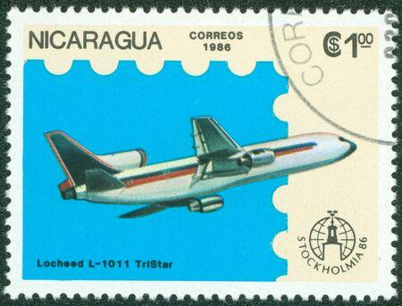 NICARAGUA - CIRCA 1986  A stamp printed in Nicaragua showing plane, circa 1986 Stock Photo - 16320984