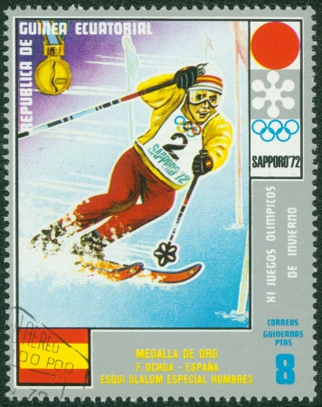 EQUATORIAL GUINEA - CIRCA 1972  stamp printed by Equatorial Guinea, shows Men s Skiing, circa 1972 Stock Photo - 16322540